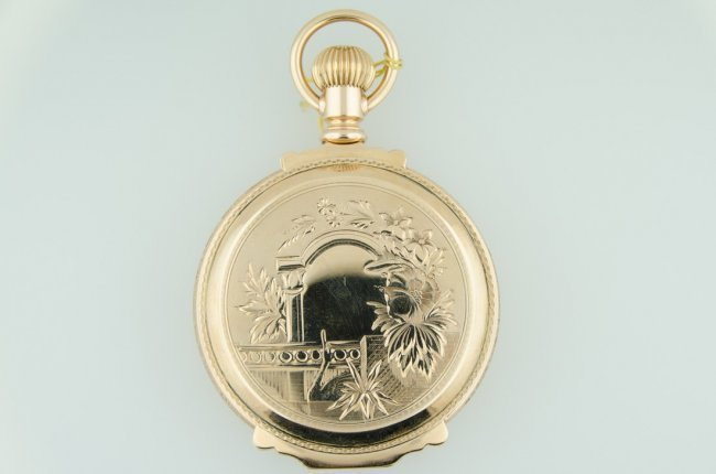 Waltham 14K solid gold oversize box pocketwatch, 1892, 55mm in diameter. Estimate: $3,000-$3,500