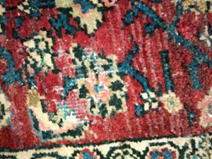 A rug damaged by wool moths. Photo courtesy A.E. Runge Oriental Rugs