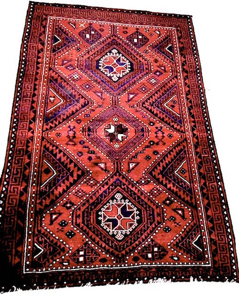 Vintage Shiraz tribal geometric Oriental rug, 5. 7 x 8.6 feet. Sold for $240