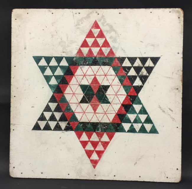 Chinese checkers game board, circa 1930, hand-painted plywood. Image courtesy of Jasper52