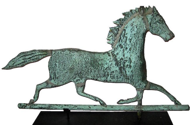 Ethan Allen Jr. horse weather vane, W.A. Snow iron works, Boston, 26.5 inches wide x 15.75 inches high, 1885-1910, Estimate: $2,400-$3,200