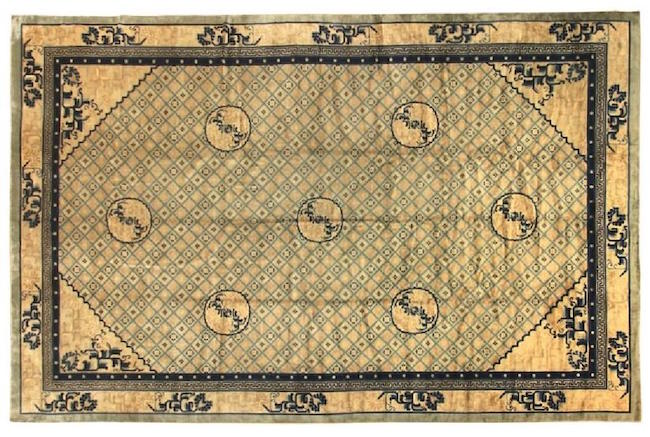 Chinese Peking Art Deco geometric trellis rug, 11 feet 6 inches x 16 feet 10 inches, circa 1950s, hand-knotted wool. Estimate: $4,500-$6,000. Jasper52 image