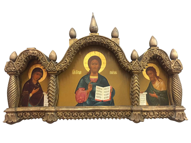 Deesis, gilt gold Russian icon, late 19th century, 22.5 x 14.5 x 3 inches, paint on wood with gilt. Estimate: $8,000-$10,000. Jasper 52 image