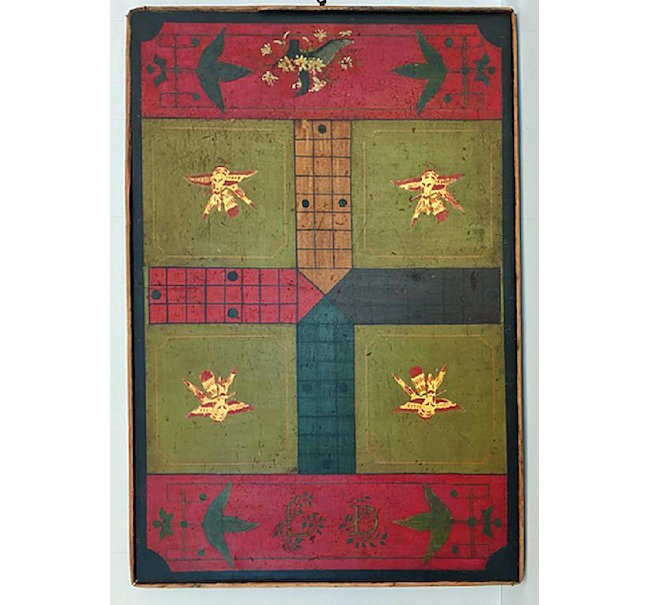 Polychrome game board, wood, 1880s, 32 inches x 21.5 inches wide, double-sided. Estimate: $1,200-$2,000