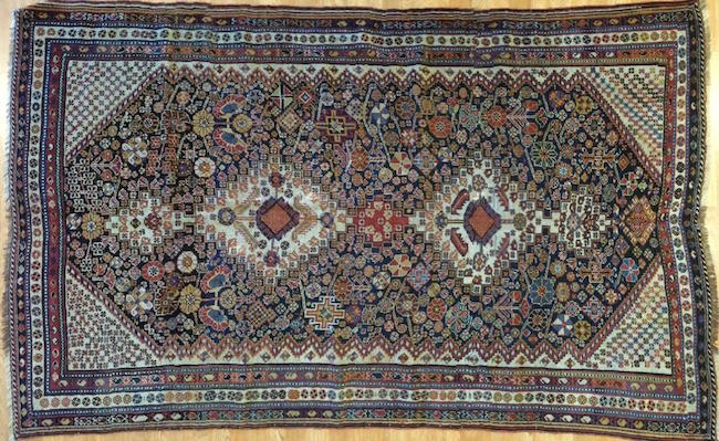 Antique Qashqai rug, Iran, wool, 4.5 x 7.2 feet. Estimate: $4,000-$5,000. Jasper52 image