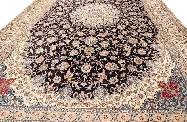 Persian fine wool and silk floral Nain rug, cotton foundation, 11 feet 9 inches x 17 feet 8 inches. Estimate: $8,000-$12,000. Jasper52 image