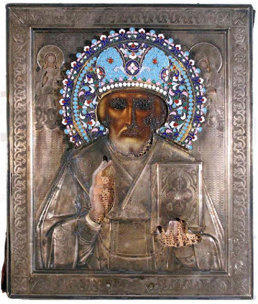 Russian St. Nikolai icon, 1840-1870s, egg tempera on wood with gold leaf. Estimate: $10,000-$15,000. Jasper52 image