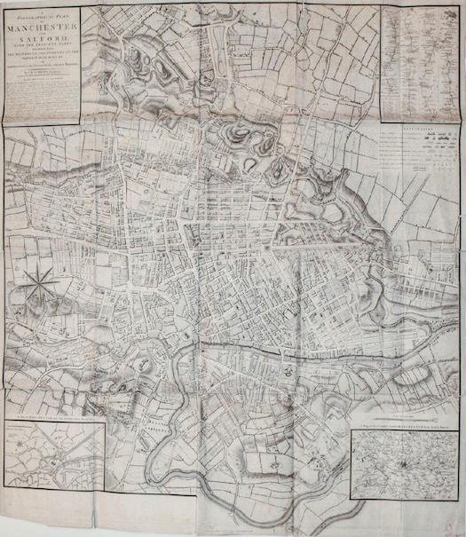 Travel old world europe via antique maps jasper52 late 18th century map of manchester and salford england engraved by j cary c laurent dec 3 1793 london 42in x 3625in estimate 500 700 gumiabroncs Choice Image