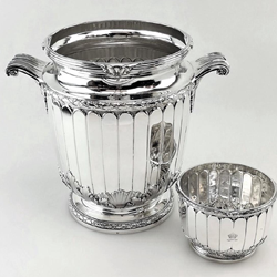 Tetard Freres Sterling Wine Cooler & Ice Bowl, 1927